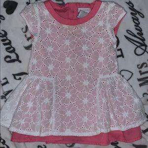 Pink layered white lace dress